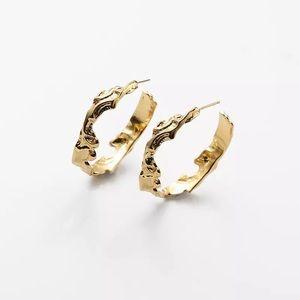 Irregular Textured Gold Hoop Earrings